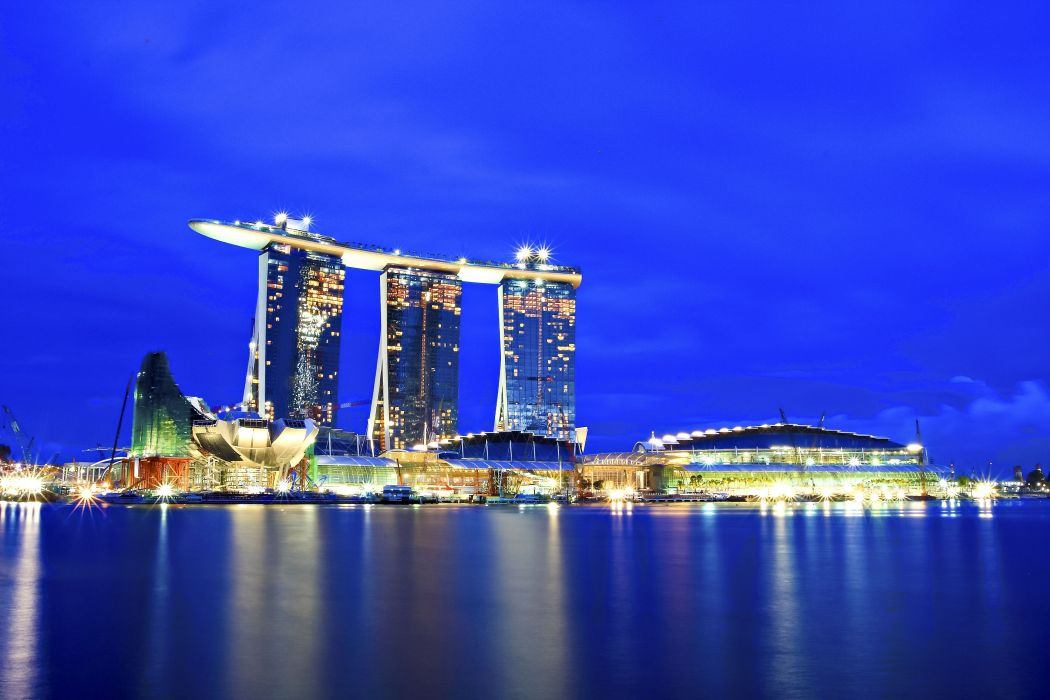 Singapore city night lights wallpaper