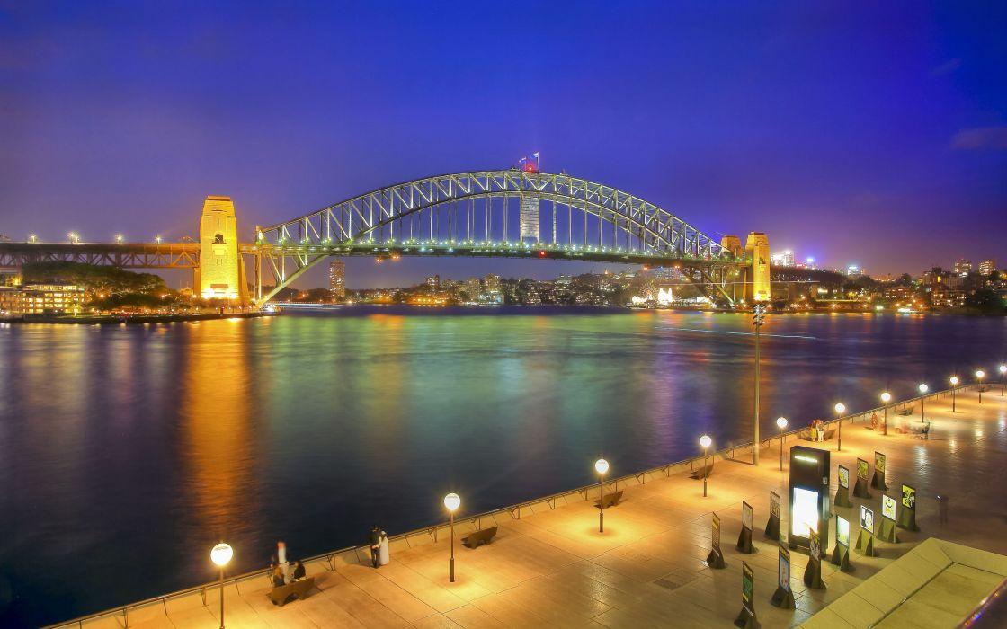Sydney Harbour Bridge night wallpaper
