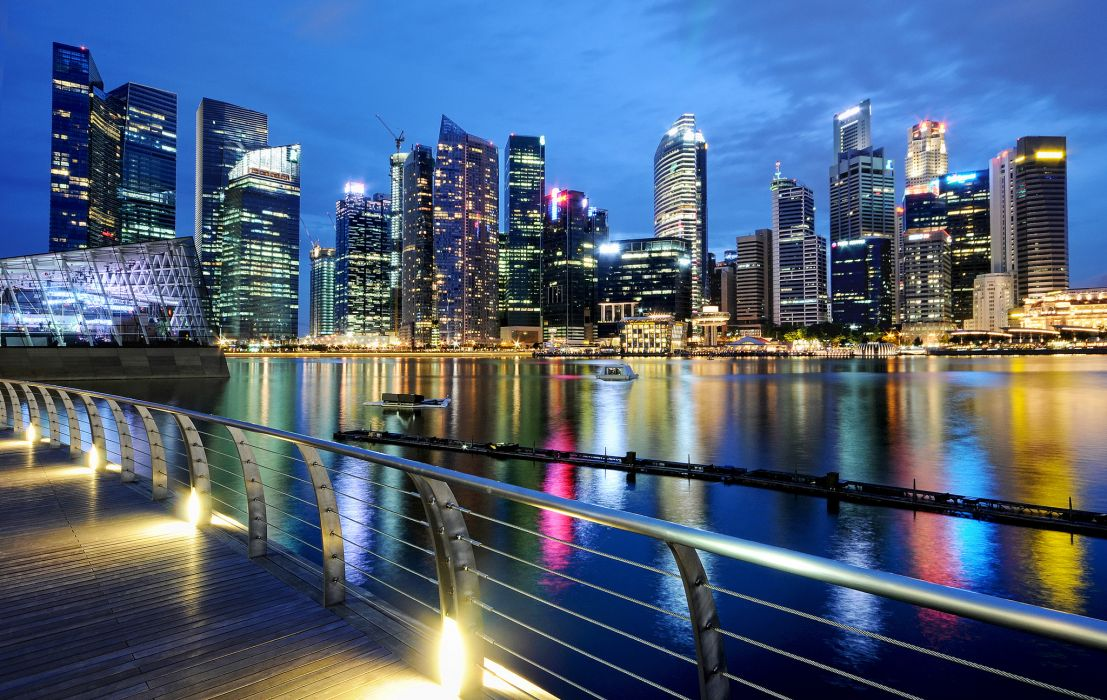 twilight lights singapore evening wallpaper
