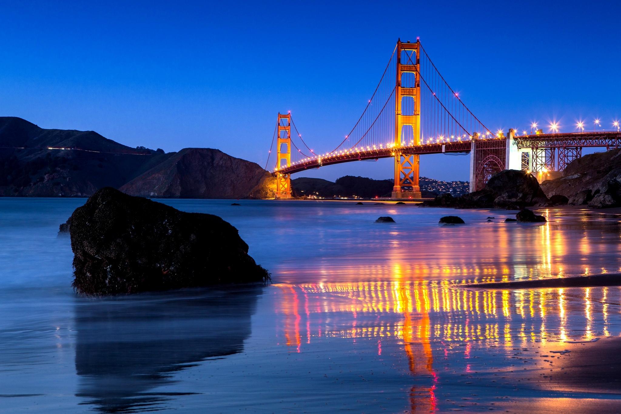 Usa Bridge Golden Gate Bridge San Francisco Reflection Wallpaper 2048x1365 220462 Wallpaperup