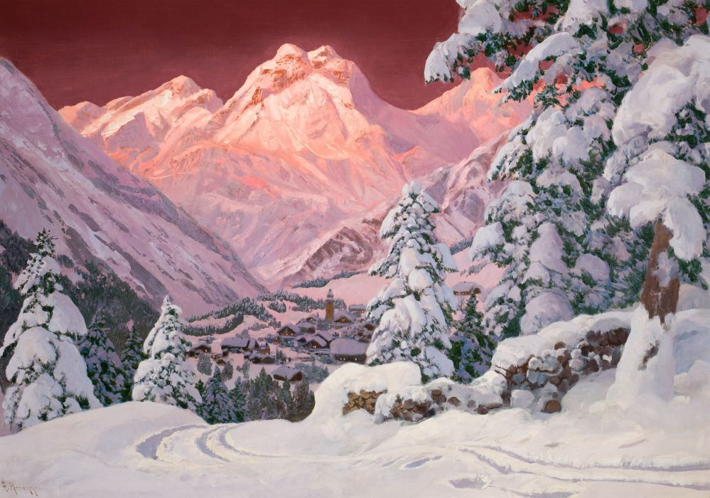 Alois Arnegger_ Winter the Alps snow sunset pink mountains tree house painting wallpaper