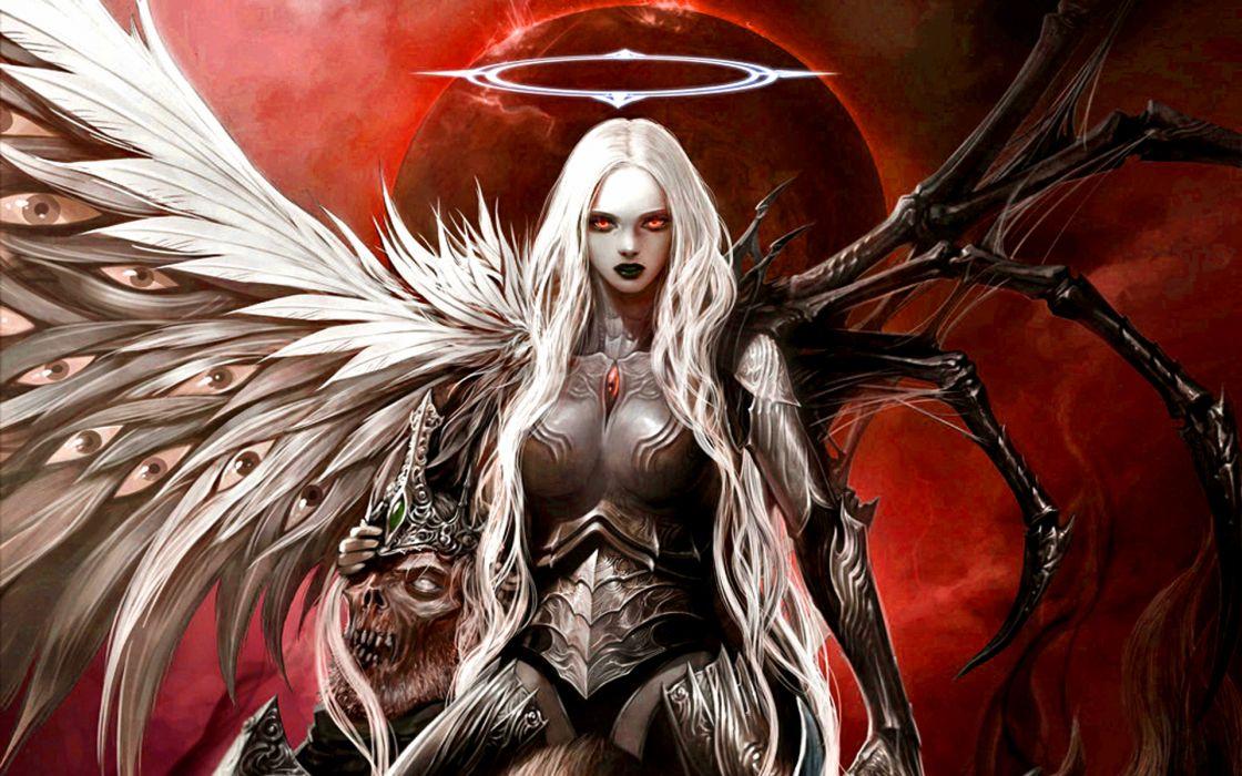 angel dark demon fantasy skull wallpaper