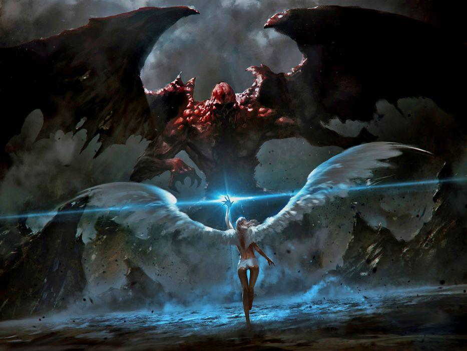 Angel demon monster battle Grzegorz Rutkowski wallpaper