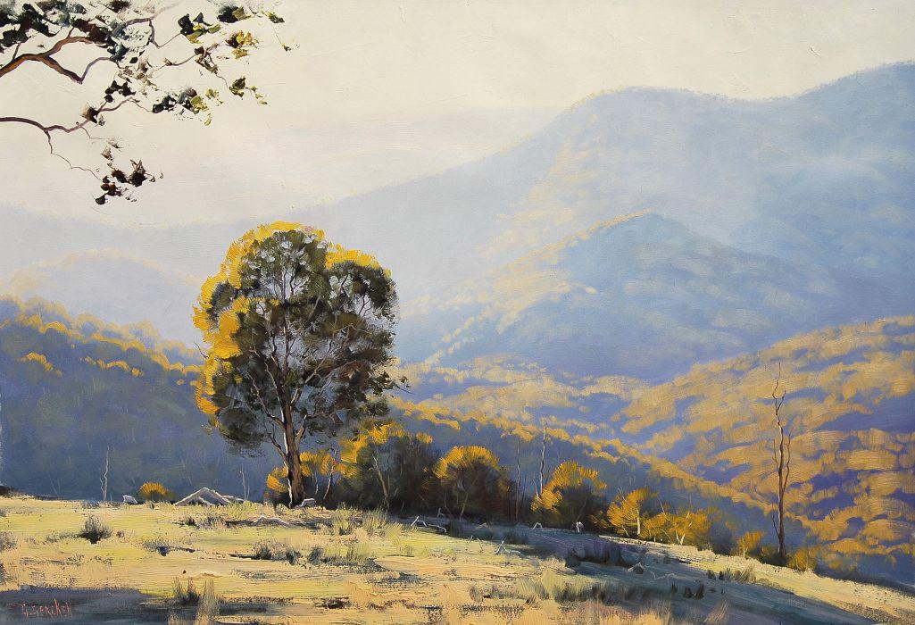 ART DRAWING ARTSAUS AUSTRALIAN LIGHT painting landscape wallpaper