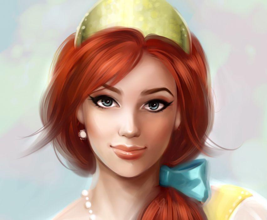 art girl eyes face makeup arrows earrings red hair ribbon beads disney redhead wallpaper