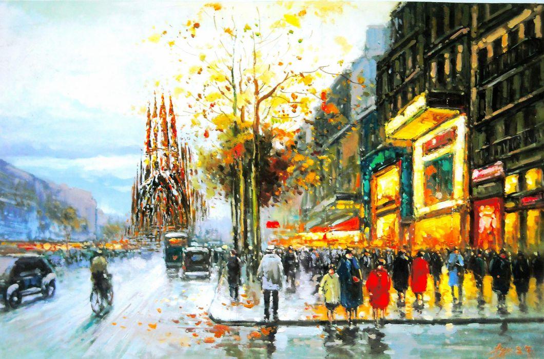 Barcelona AeYaeYGaudi Cathedral Views People Trees City Street Rain Autumn Painting Wallpaper