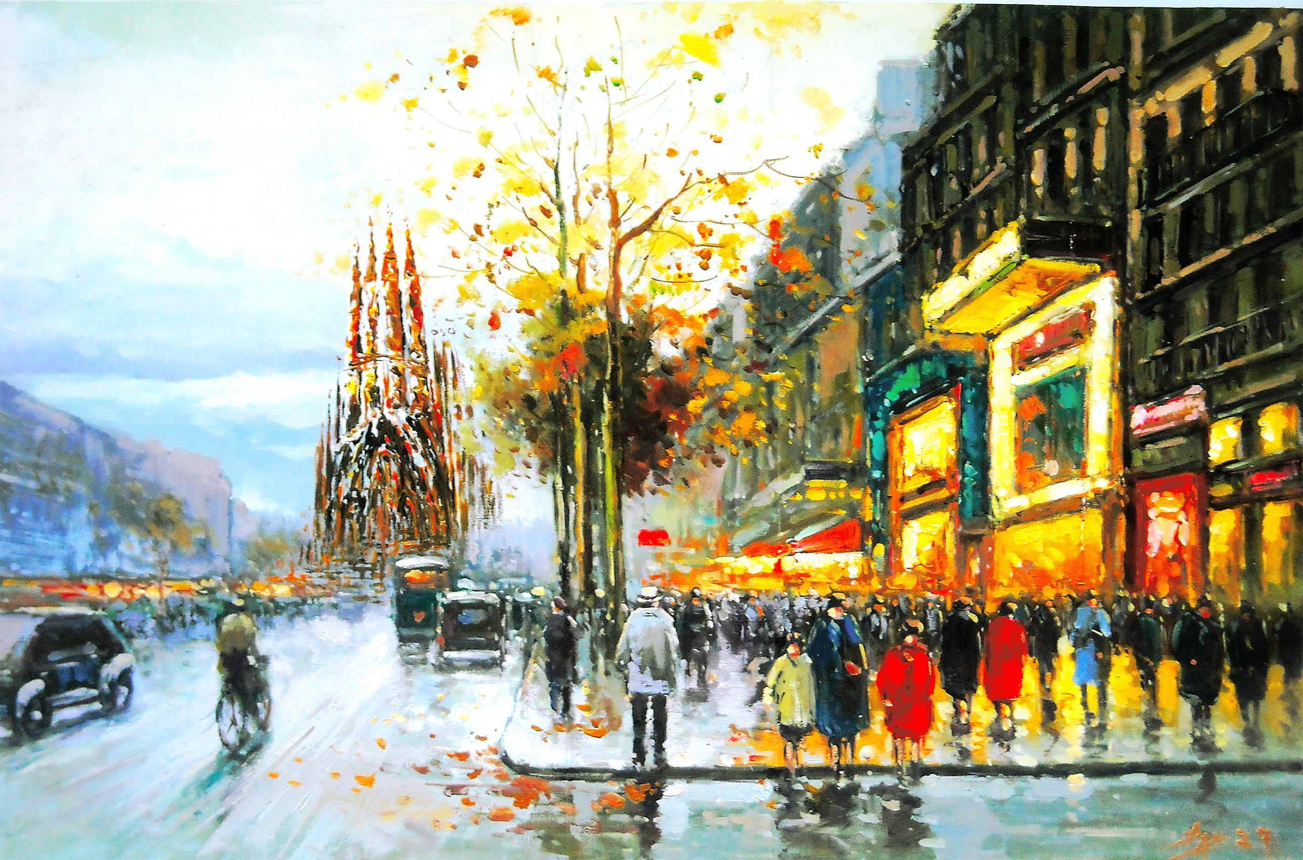Barcelona aeYaeYGaudi cathedral views people trees city street rain autumn painting wallpaper ...