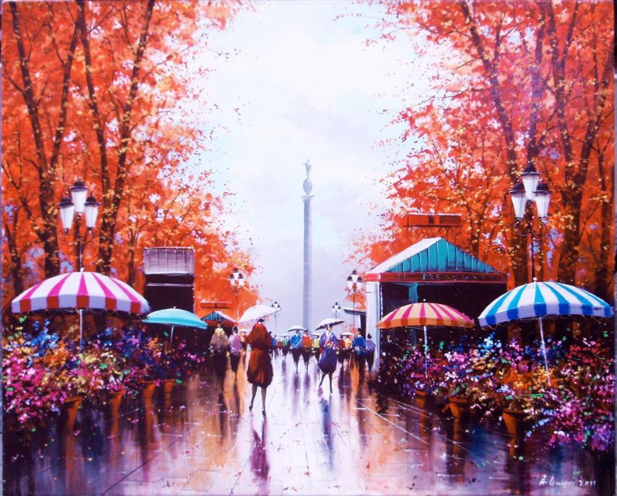 Barcelona aeYaeYview of Columbus Circle trees people rain autumn painting umbrella wallpaper