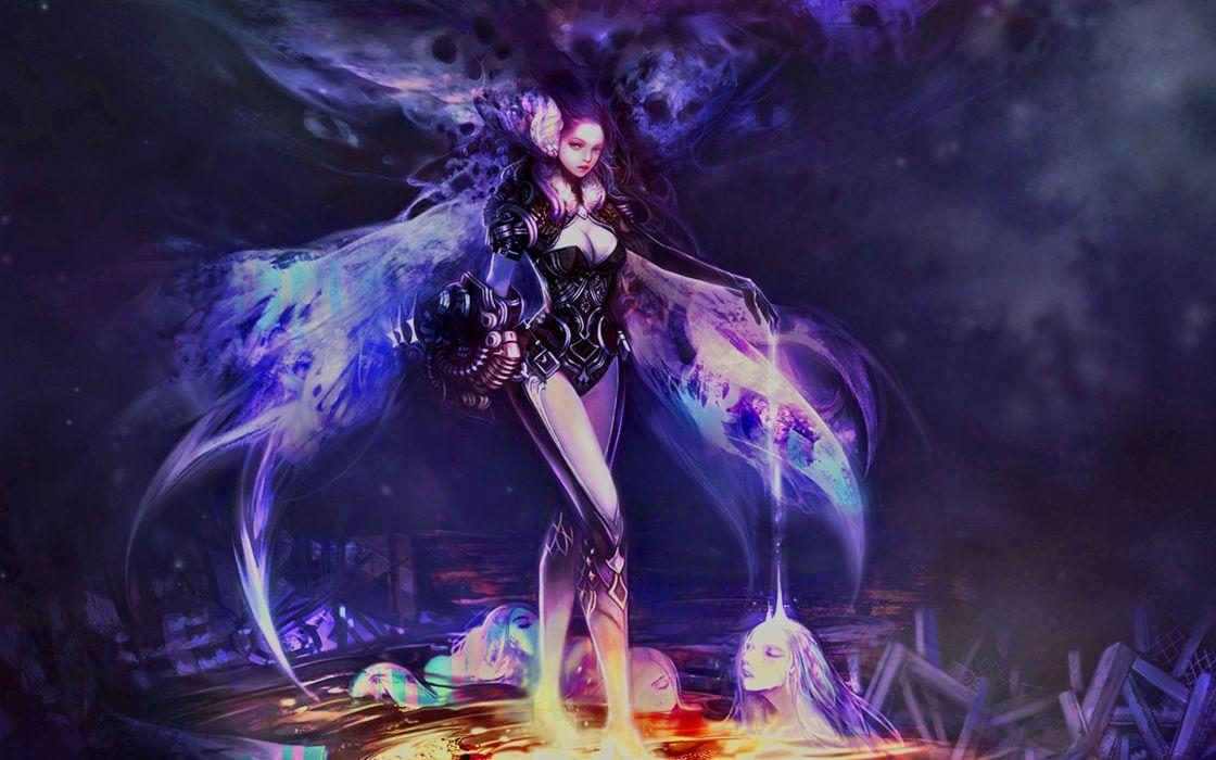 cyborg dark girl magic fantasy sci-fi wallpaper