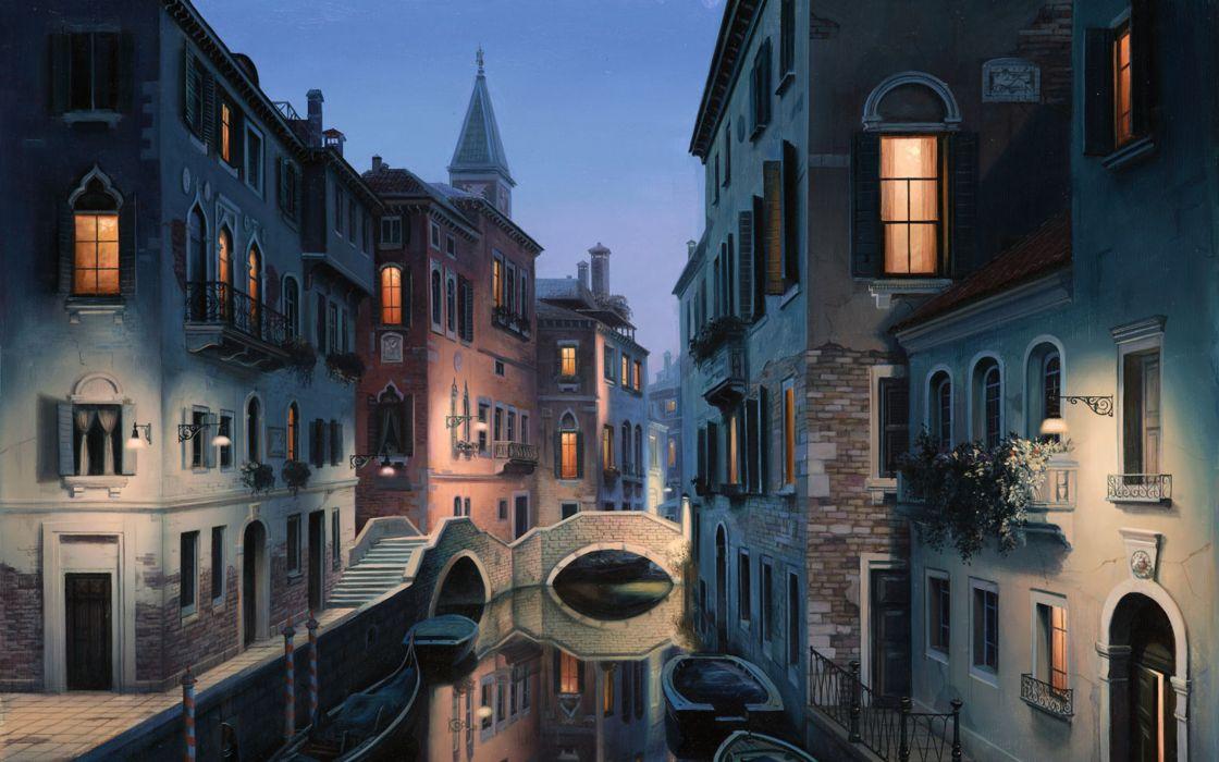 Eugene lushpin painting lushpin city Venice Italy canal gondola wallpaper