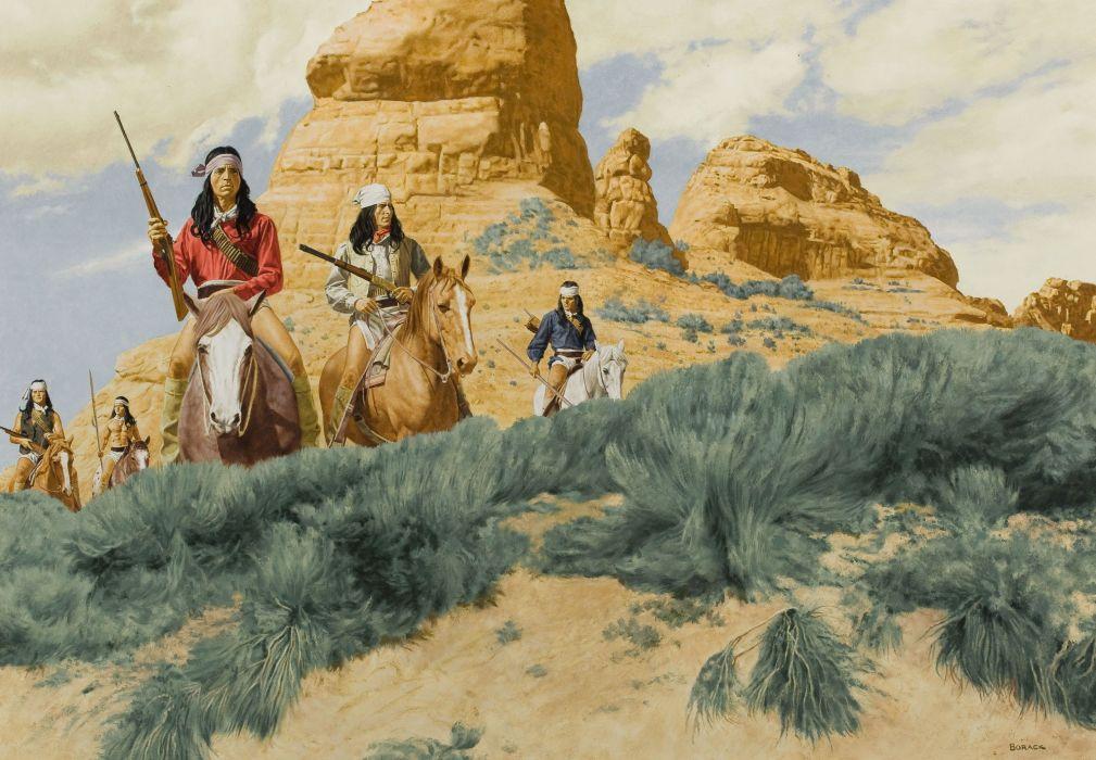 Indian drawing horses riders guns native american western painting wallpaper