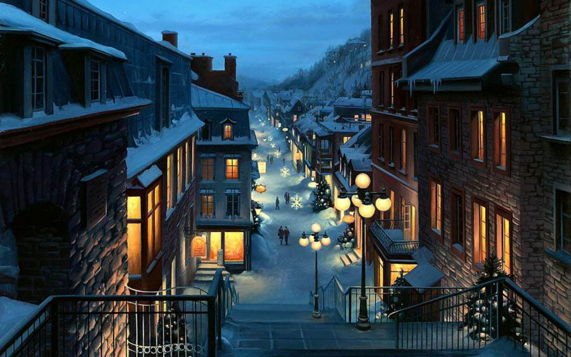 Lushpin landscape city Quebec Province Canada Christmas night painting wallpaper