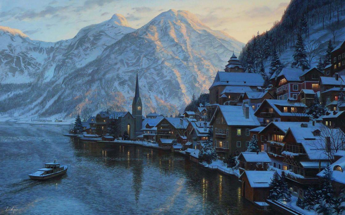 Lushpin painting landscape Austria alps mountains winter snow house chapel lake boat mountain sunset evening Salzburg wallpaper