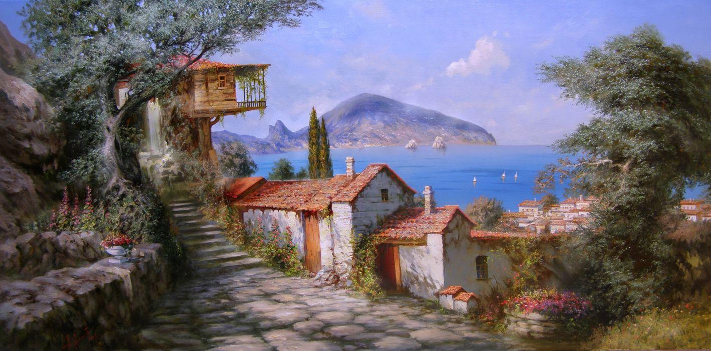 Miliukov Alexander Sun Gurzuf Crimea sea sail cabins mountain flowers happiness summer wood painting art beauty heaven wallpaper