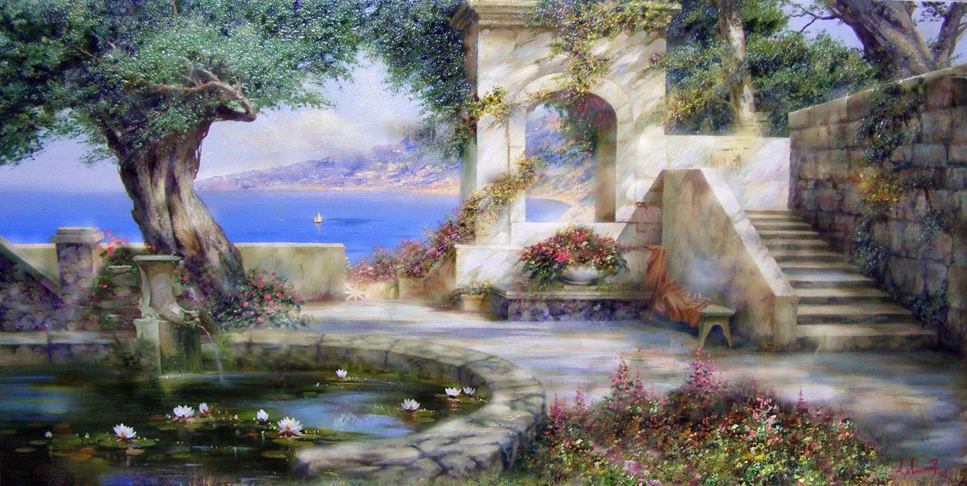 Miliukov Alexander sun shade Crimea sea sail pond water lilies flowers happiness summer wood painting art beauty heaven wallpaper