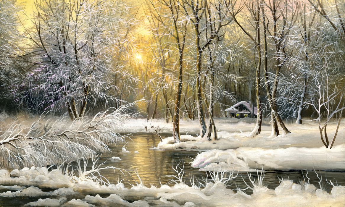 painting oil winter snow trees cold house wallpaper