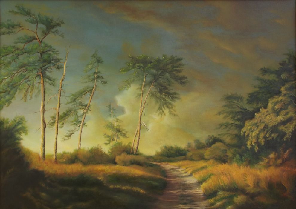 Nature landscape trees grass track overgrown painting art wallpaper