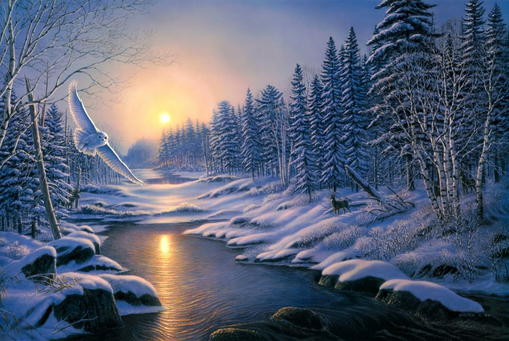 painting solstice sunset winter snow nature forest spruce birch river owl deer wallpaper