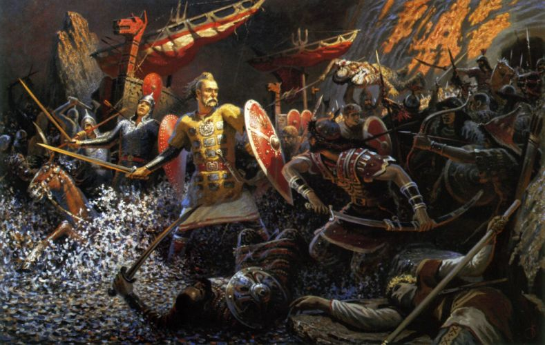 Prince Svyatoslav Svetoslav I go to you Russ paganism Truth warrior battle painting wallpaper