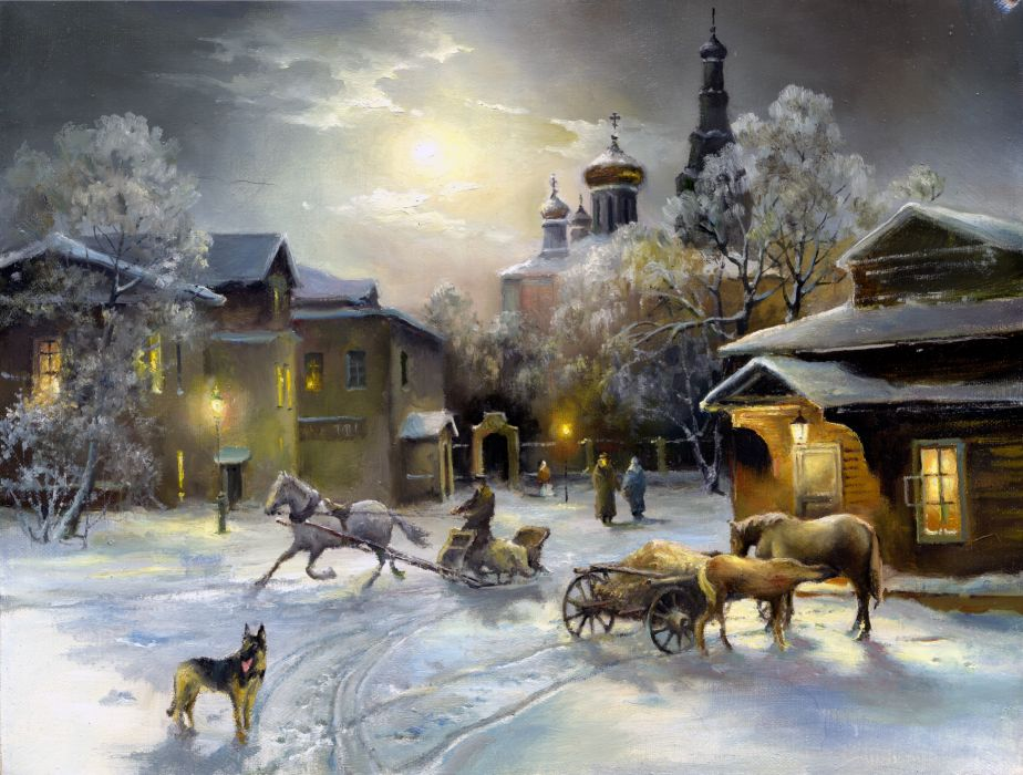 painting snow winter_ house window light horse dog sheep dog church sky wallpaper