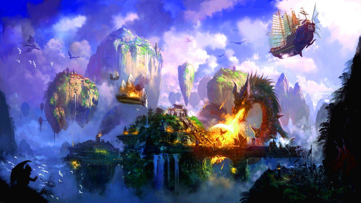 Runescape fantasy dragon battle fire wallpaper
