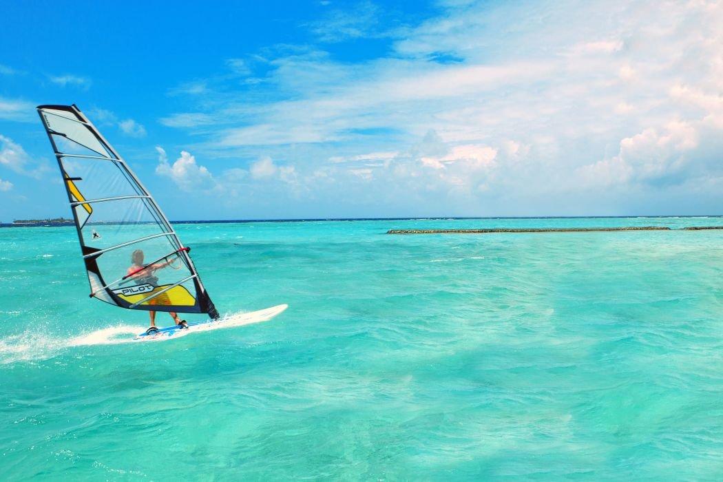 sea board clouds horizon sky windsurfing surfing surf wallpaper