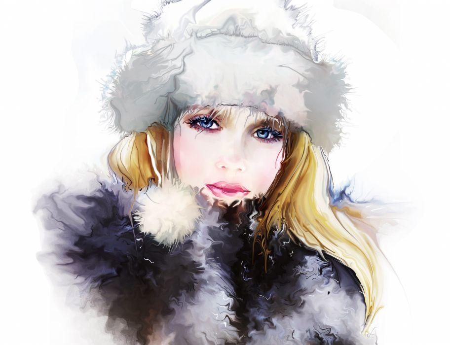 Tatiana Nikitina girl face eyes eyes eyelashes hat hair winter painting fashion wallpaper
