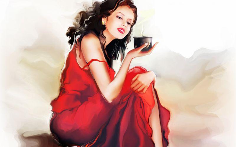 Tatiana Nikitina girl sitting red dress mug coffee painting mood brunette wallpaper