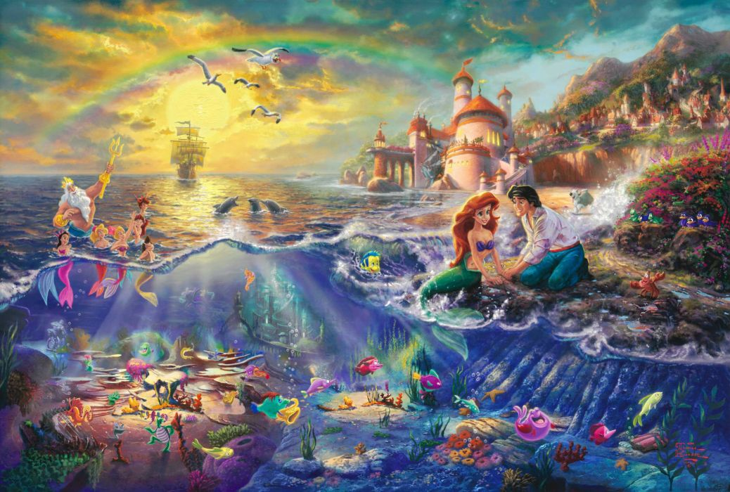 The Little Mermaid Thomas Kinkade painting Disney Princess Ariel Neptune Prince Eric lock sail bow cartoon wallpaper