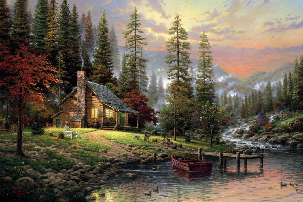 Thomas Kinkade a quiet cozy home chair barrel fiber dogs gomak wood spruce mist mountain river wooden bridge rocks boat hemp painting paintings drawings pictures art wallpaper