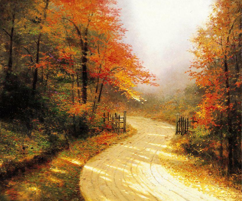 Thomas Kinkade art gold autumn road forest wallpaper