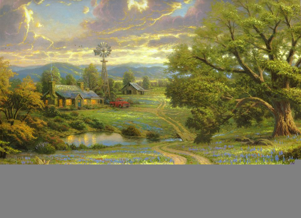 Thomas Kinkade painting house weather vane a large tree field flowers lake bridge wood machinery birds mountains nature wallpaper