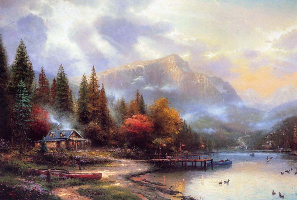 Thomas Kinkade mountain house river autumn painting wallpaper