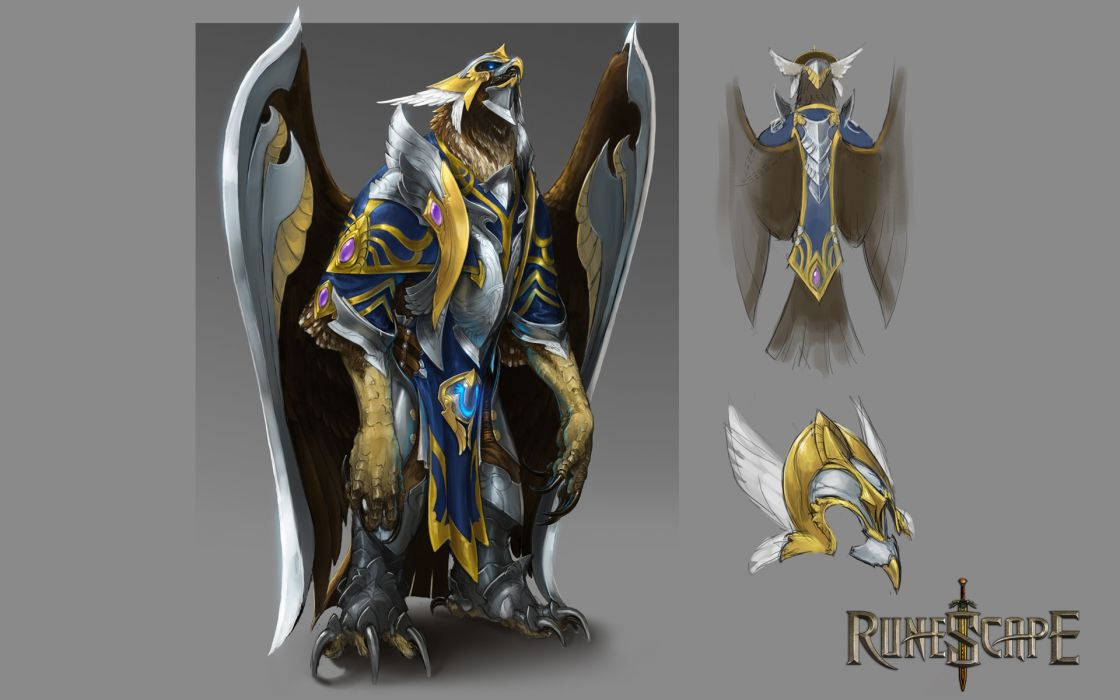 RUNESCAPE fantasy adventure warrior eagle armor bird wallpaper