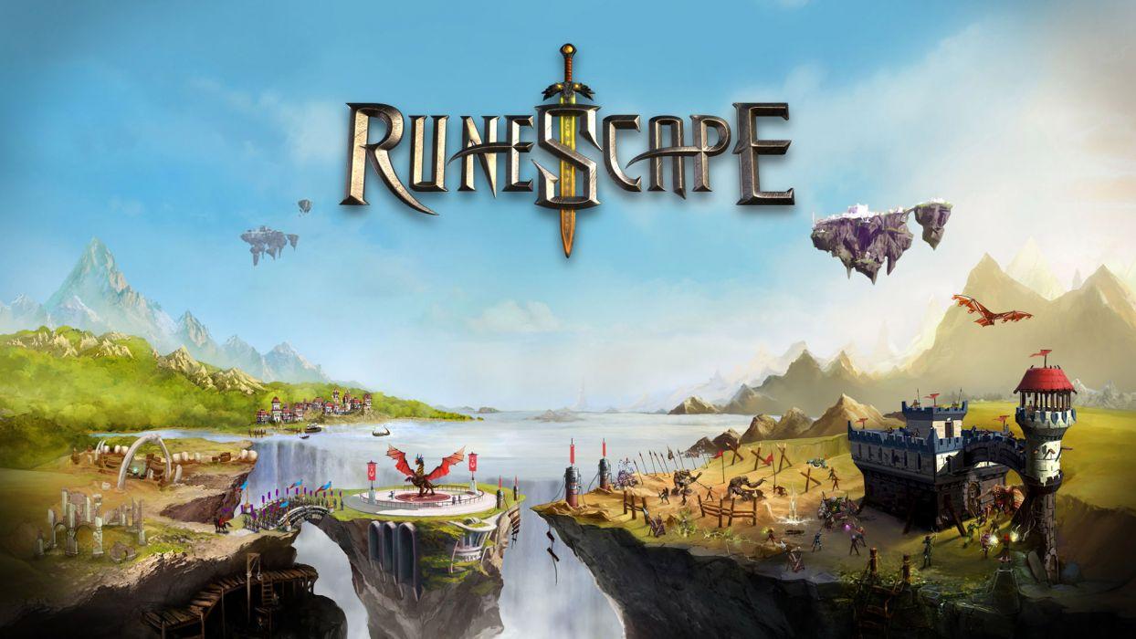 RUNESCAPE fantasy adventure poster waterfall river city castle dragon wallpaper