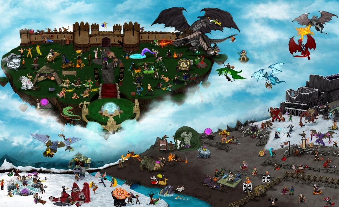 RUNESCAPE fantasy adventure map city dragon battle island castle wallpaper