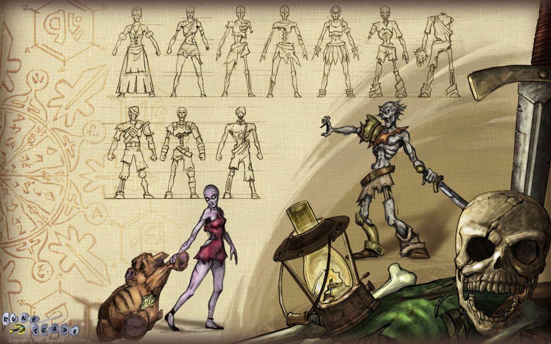 RUNESCAPE fantasy adventure dark zombie skull warrior wallpaper