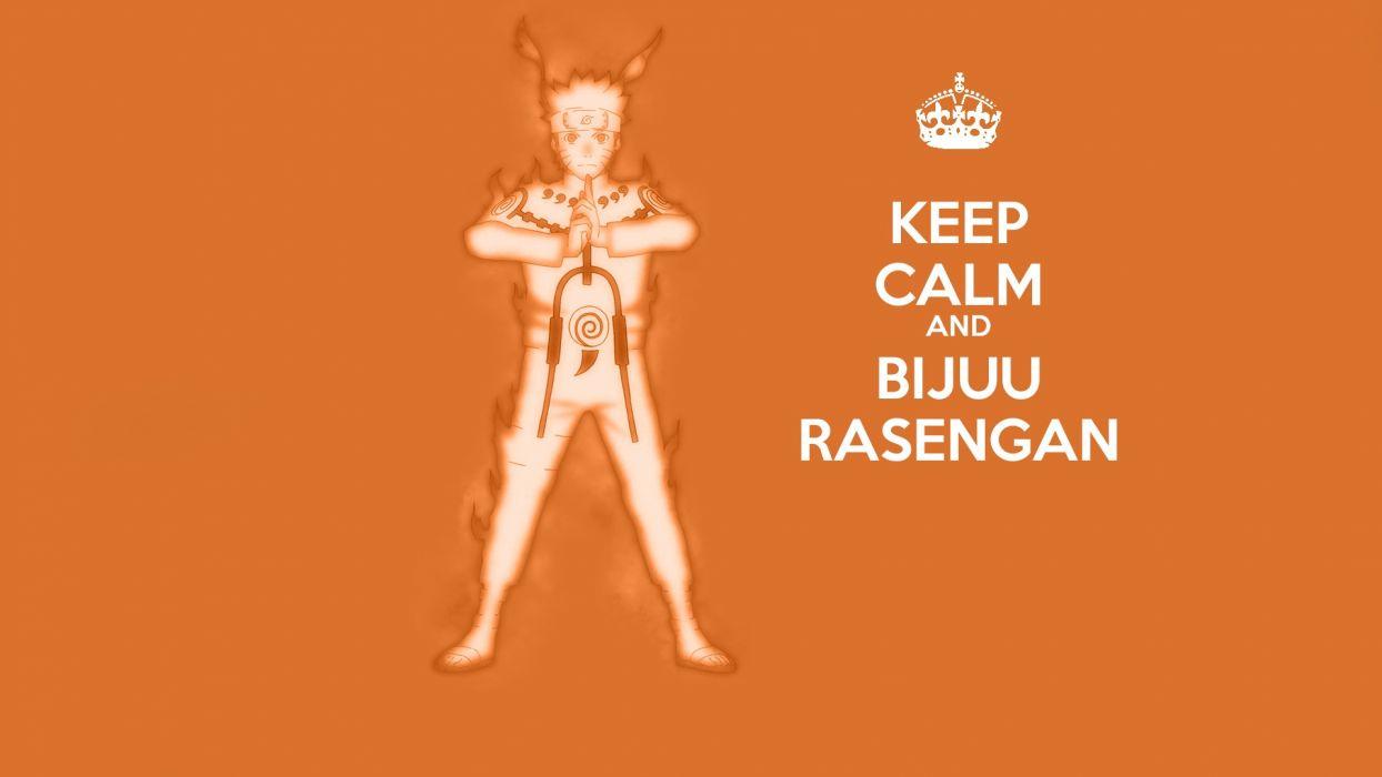 Naruto: Shippuden anime manga Uzumaki Naruto rasengan Keep Calm and orange background Bijuu Mode wallpaper