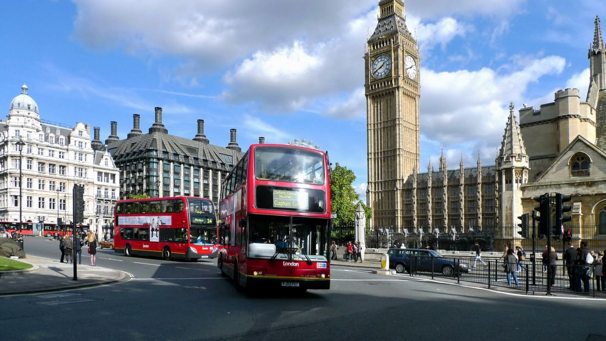 landscapes cityscapes England architecture London bus United Kingdom wallpaper