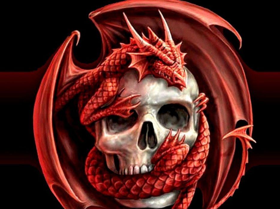skulls dragons wallpaper