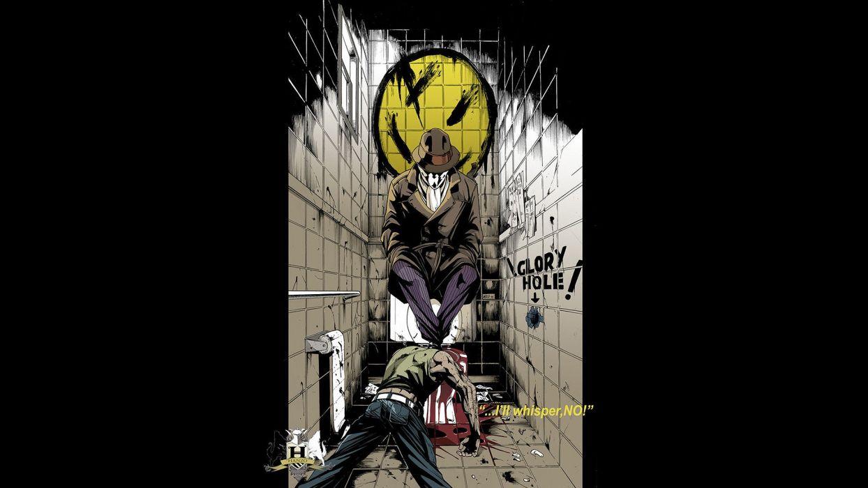 Watchmen DC Comics Rorschach black background wallpaper