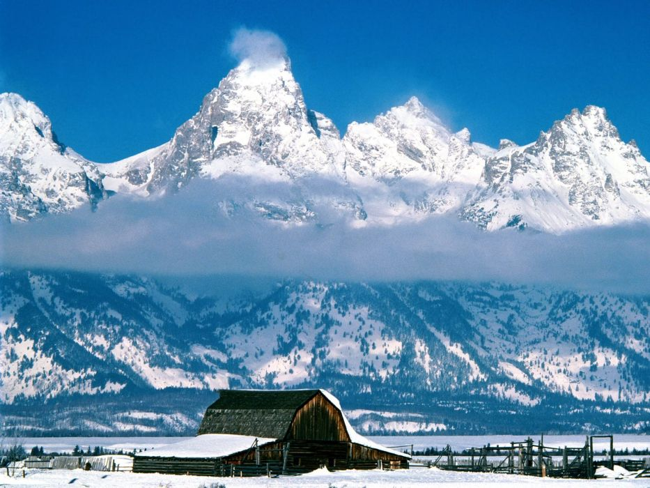mountains clouds landscapes snow cabin wallpaper
