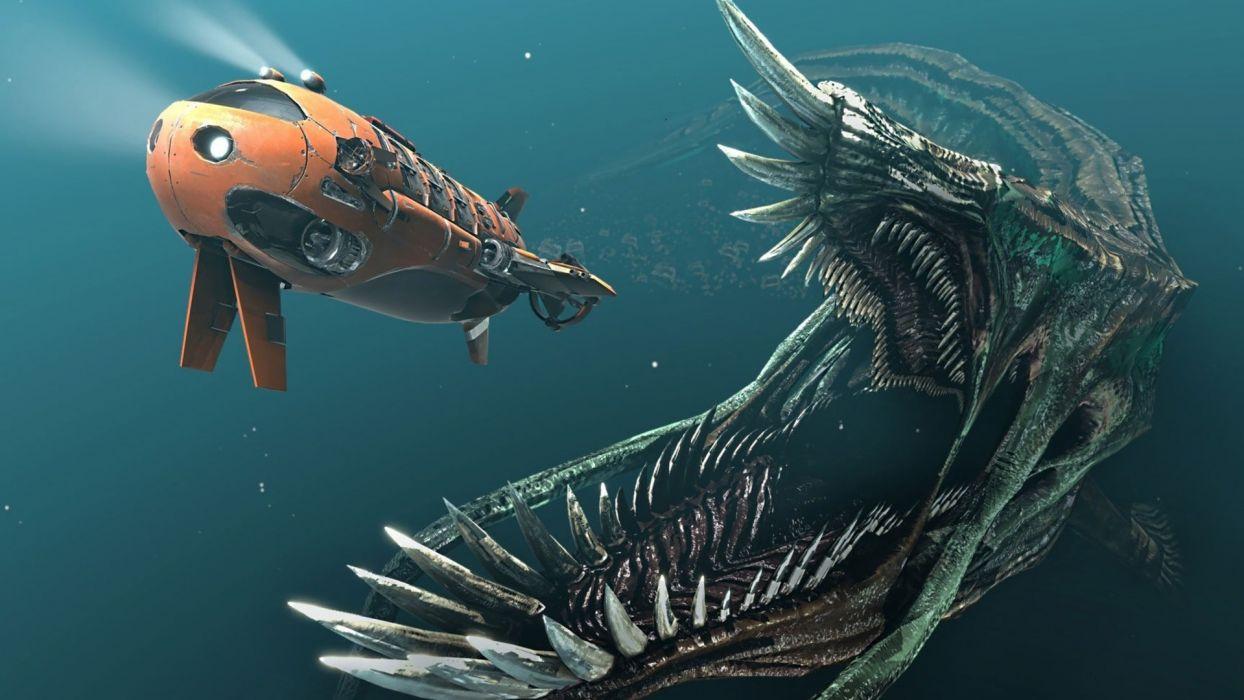 submarine fantasy art artwork chasing sea wallpaper