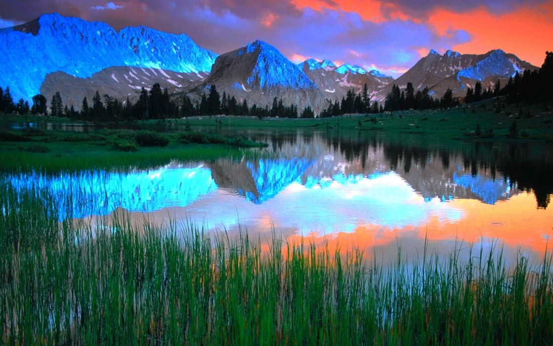 blue clouds landscapes trees lakes reflections wallpaper