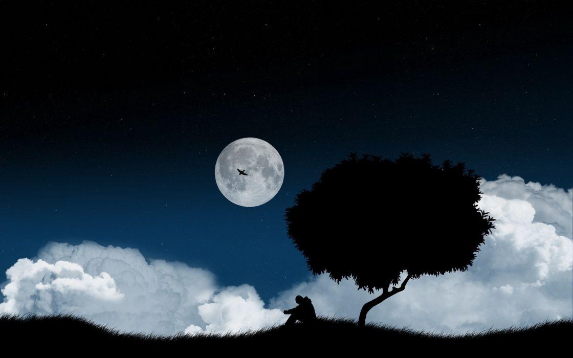 clouds trees night Moon shadows wallpaper