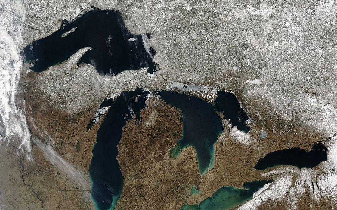 Great Lakes satellite image wallpaper