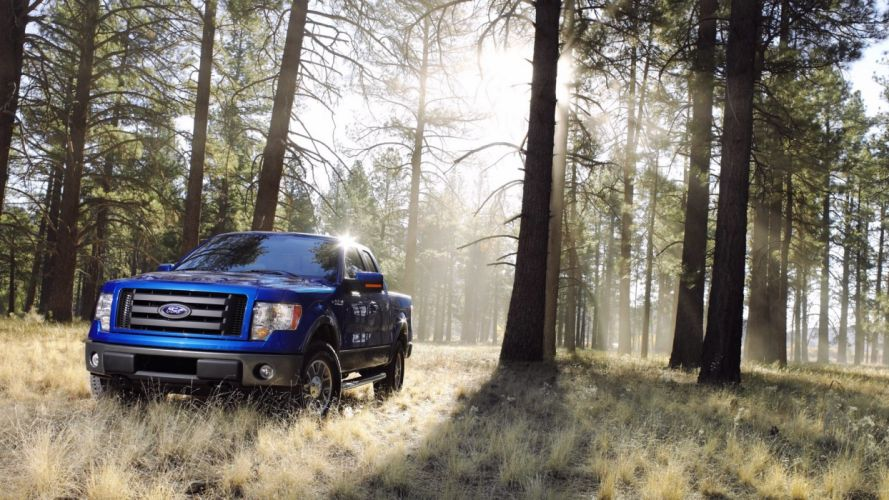 trees forests cars Ford F150 wallpaper