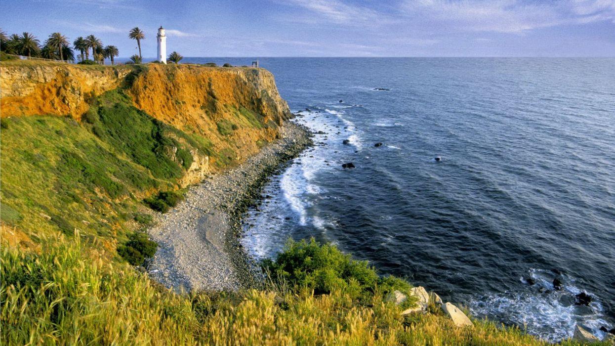 landscapes nature shore cliffs lighthouses wallpaper