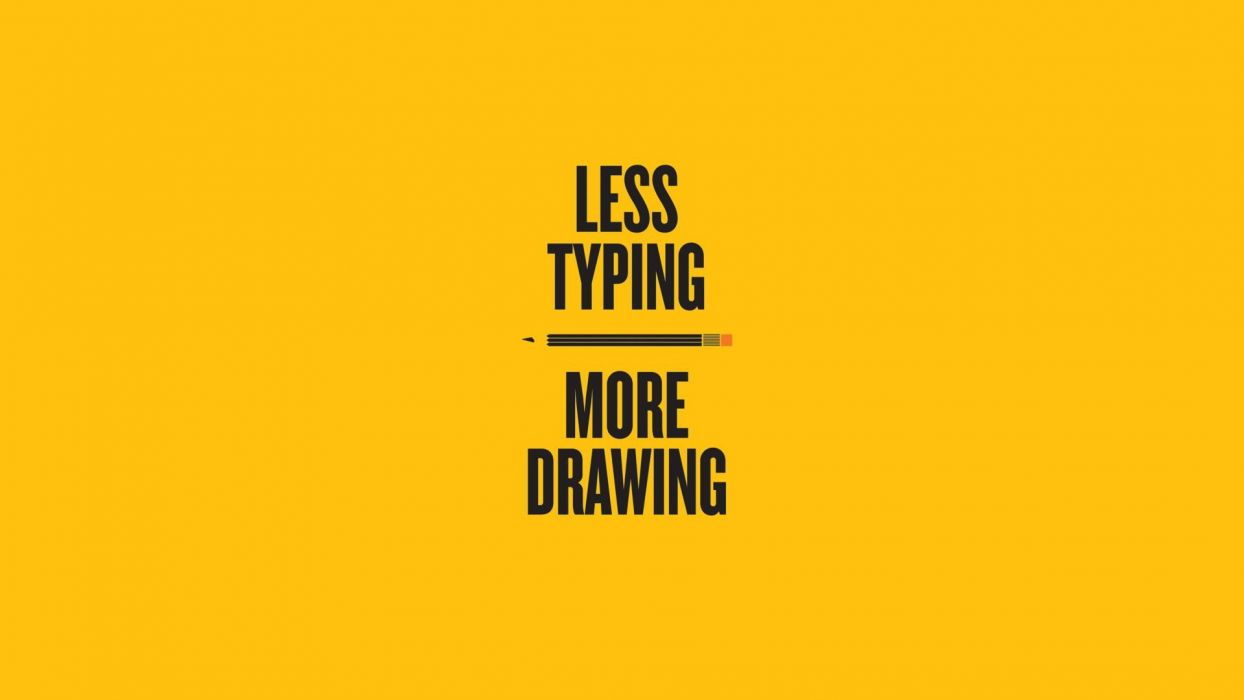 yellow text typography drawings pencils yellow background Typing wallpaper