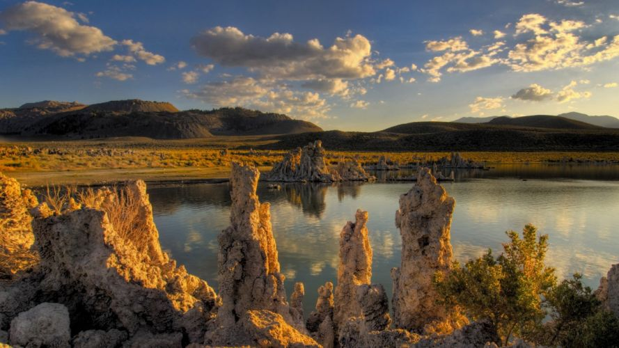 clouds landscapes California lakes rock formations Mono Lake wallpaper